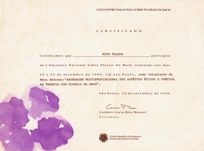 Certificado de Participação no I Encontro de Bach em 1990